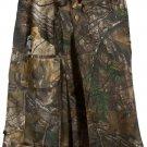 "32"" Taichi Men's TDK Tactical Kilt REAL TREE Camo, OUTDOOR Camping Cotton Utility Kilt"