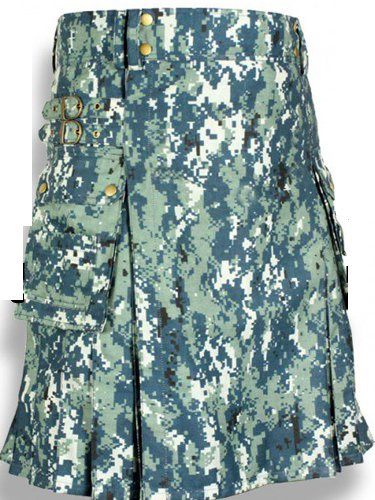 56 Size Taichi US Army CAMO Scottish Kilt, 100% Cotton Utility Kilt Highland Adult Unisex kilt