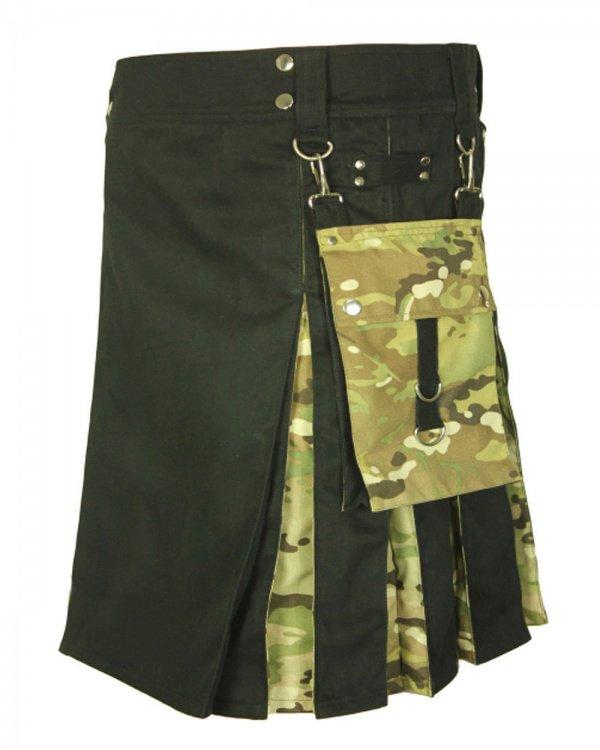 30 Size Men's Handmade Black Cotton Digital CamoHybrid Kilt, Black Hybrid Cotton Utility Deluxe Kilt