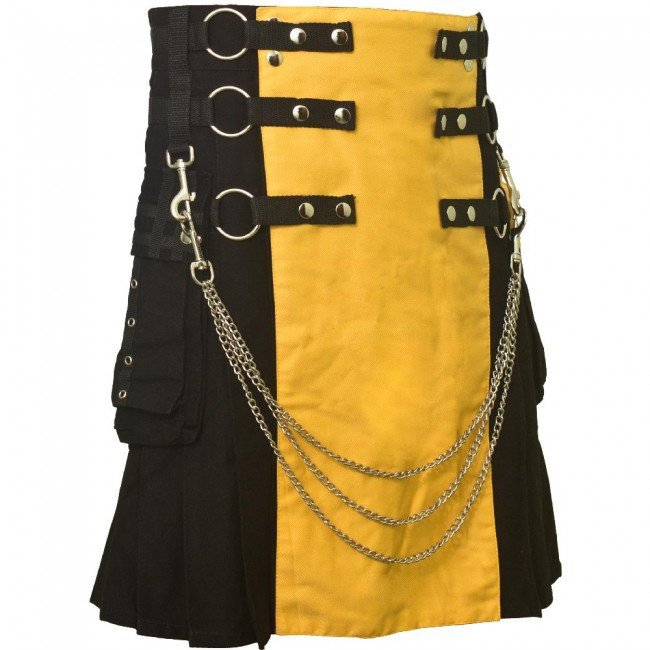 "36"" Waist Men's Modern Black & Yellow Cotton Hybrid Kilt, Black & Yellow Hybrid Cotton Utility Kilt"