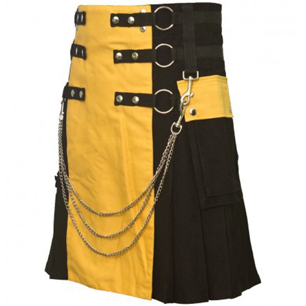 "48"" Waist Men's Modern Black & Yellow Cotton Hybrid Kilt, Black & Yellow Hybrid Cotton Utility Kilt"