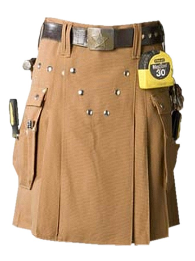 Brown Utility Tactical Kilt, Men's Big Cargo Pockets Brown Cotton Kilt, Cotton Working Men Kilt