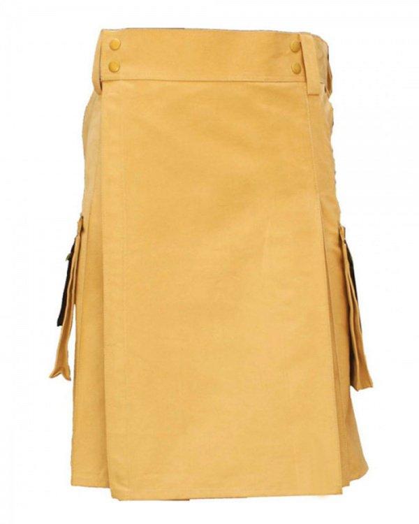 34 Waist Tactical Khaki Utility Pure Cotton Kilt With 2 cargo pockets 2 slant pockets