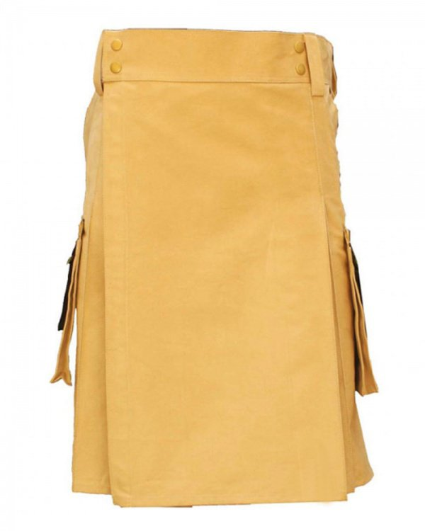 38 Waist Tactical Khaki Utility Pure Cotton Kilt With 2 cargo pockets 2 slant pockets