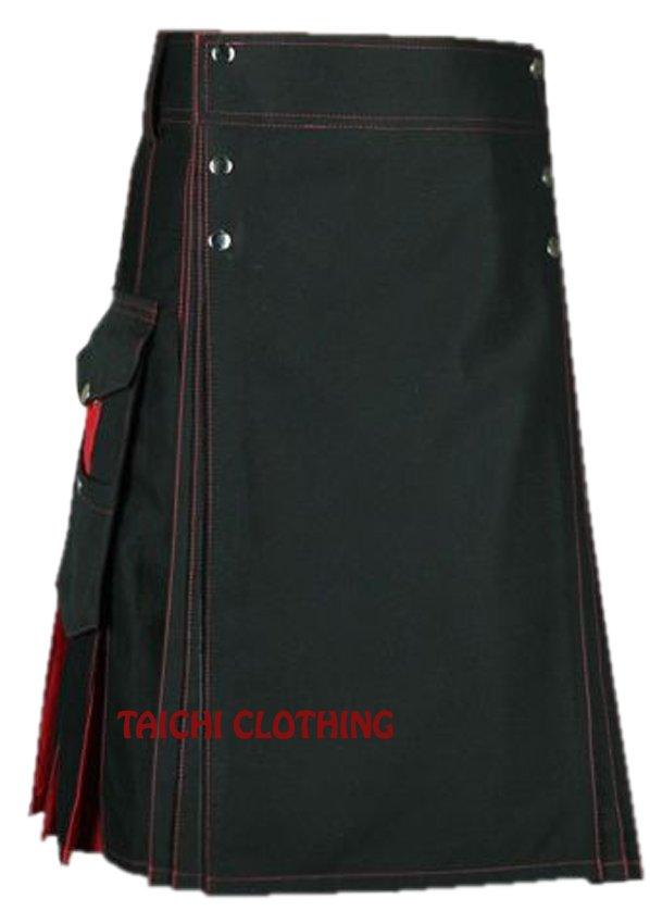 "30"" Premium Quality Black & Red Cotton Hybrid Kilt, Scottish Highlander Black Cotton Utility Kilt"