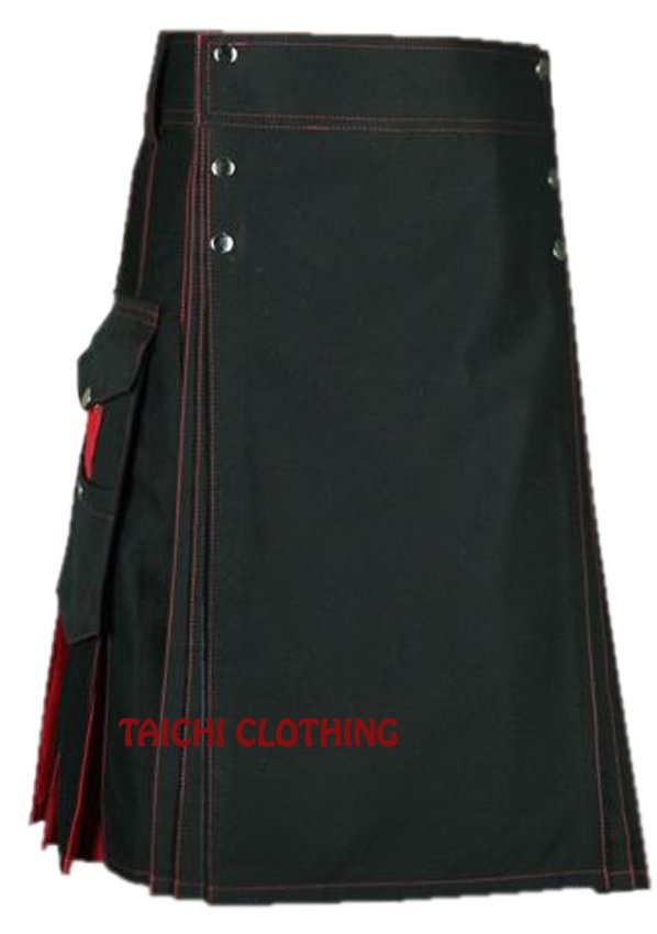"48"" Premium Quality Black & Red Cotton Hybrid Kilt, Scottish Highlander Black Cotton Utility Kilt"