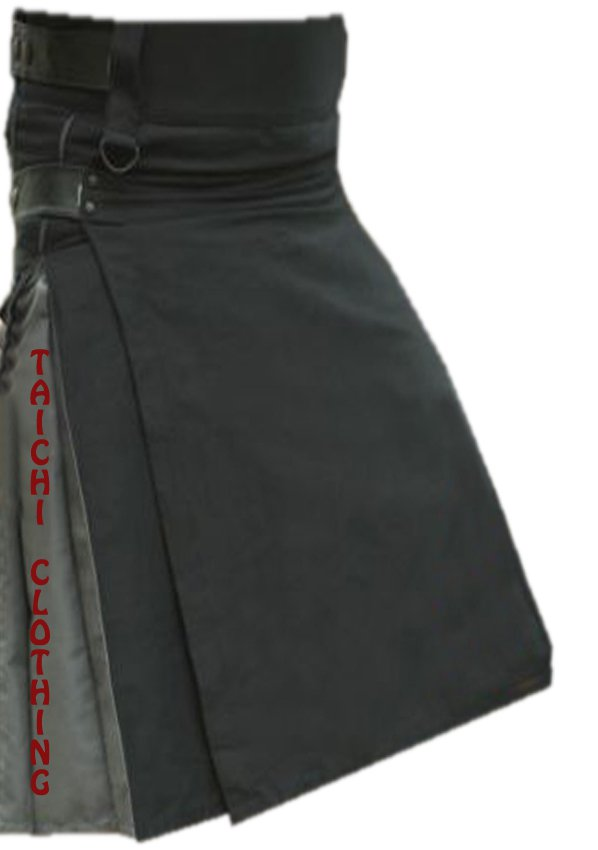 "44"" TDK Black & Grey Cotton Hybrid Kilt,Highlander Tactical Duty Black/Grey Cotton Utility Kilt"