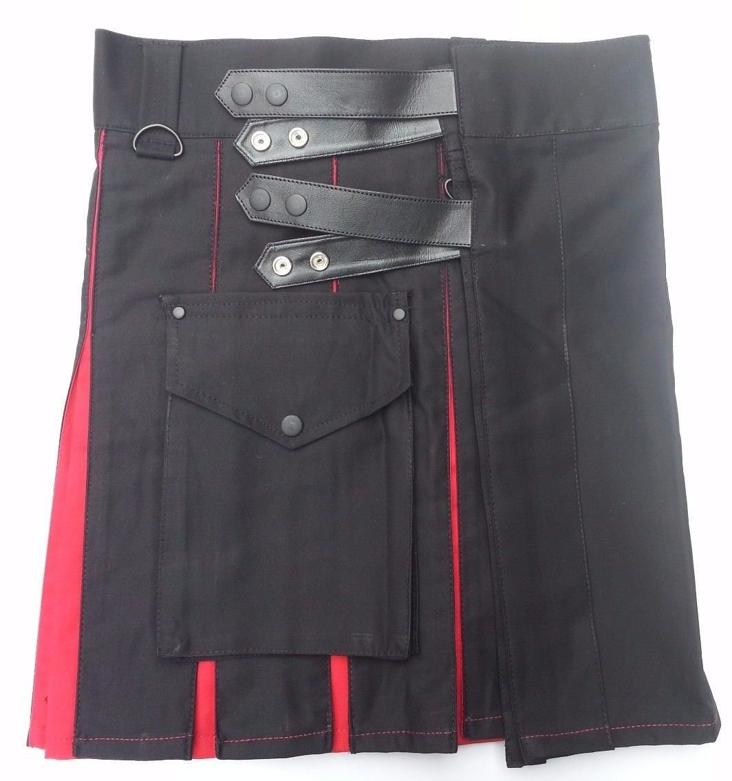 36 Waist TDK Black & Red Cotton Hybrid Kilt, Leather Straps Tactical Duty Kilt Black/Red Cotton