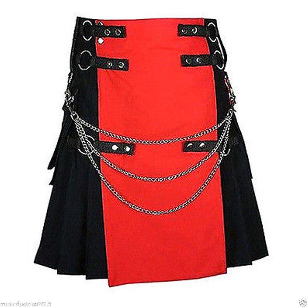 56 Waist Size Black & Red Hybrid Cotton Kilt with Cargo Pockets Chrome Chains Utility Kilt