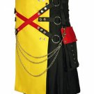 48 Size Black & Yellow Hybrid Cotton Kilt with Cargo Pockets Chrome Chains Utility Kilt