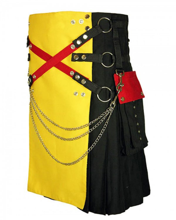 56 Size Black & Yellow Hybrid Cotton Kilt with Cargo Pockets Chrome Chains Utility Kilt