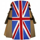 58 Size United Kingdom Flag Hybrid Utility Kilt With Cargo Pockets UK Flag Kilt with Custom Stars