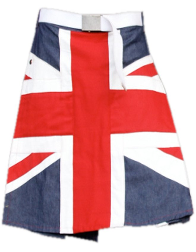 "54"" Waist UK Flag Hybrid Utility Kilt United Kingdom Flag Kilt with Custom Pattern"