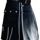 Blue Cotton Modern Pockets Utility Kilt, Men's Handmade 34 Size Highlander white Piping kilt