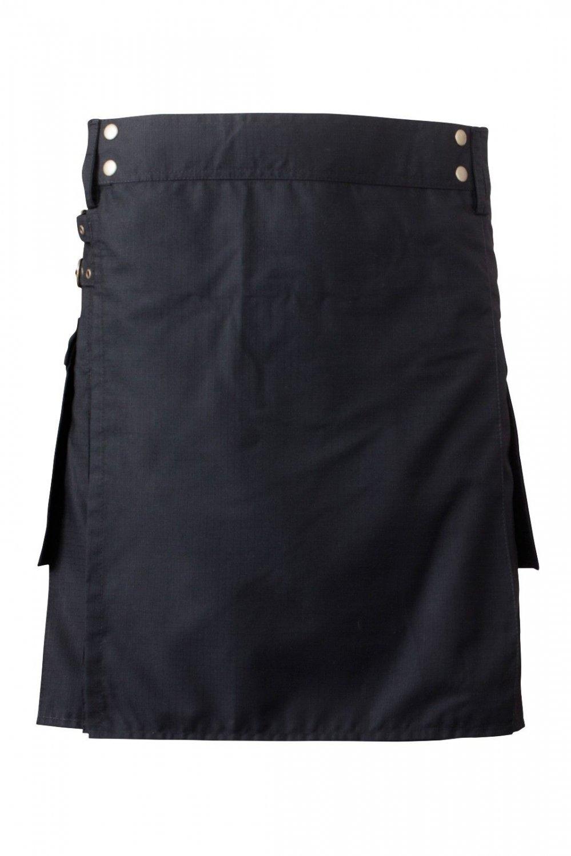 44 Waist Men's Scottish Low Price Brand New Black Cotton Utility Kilt, Fine Quality 100% Cotton