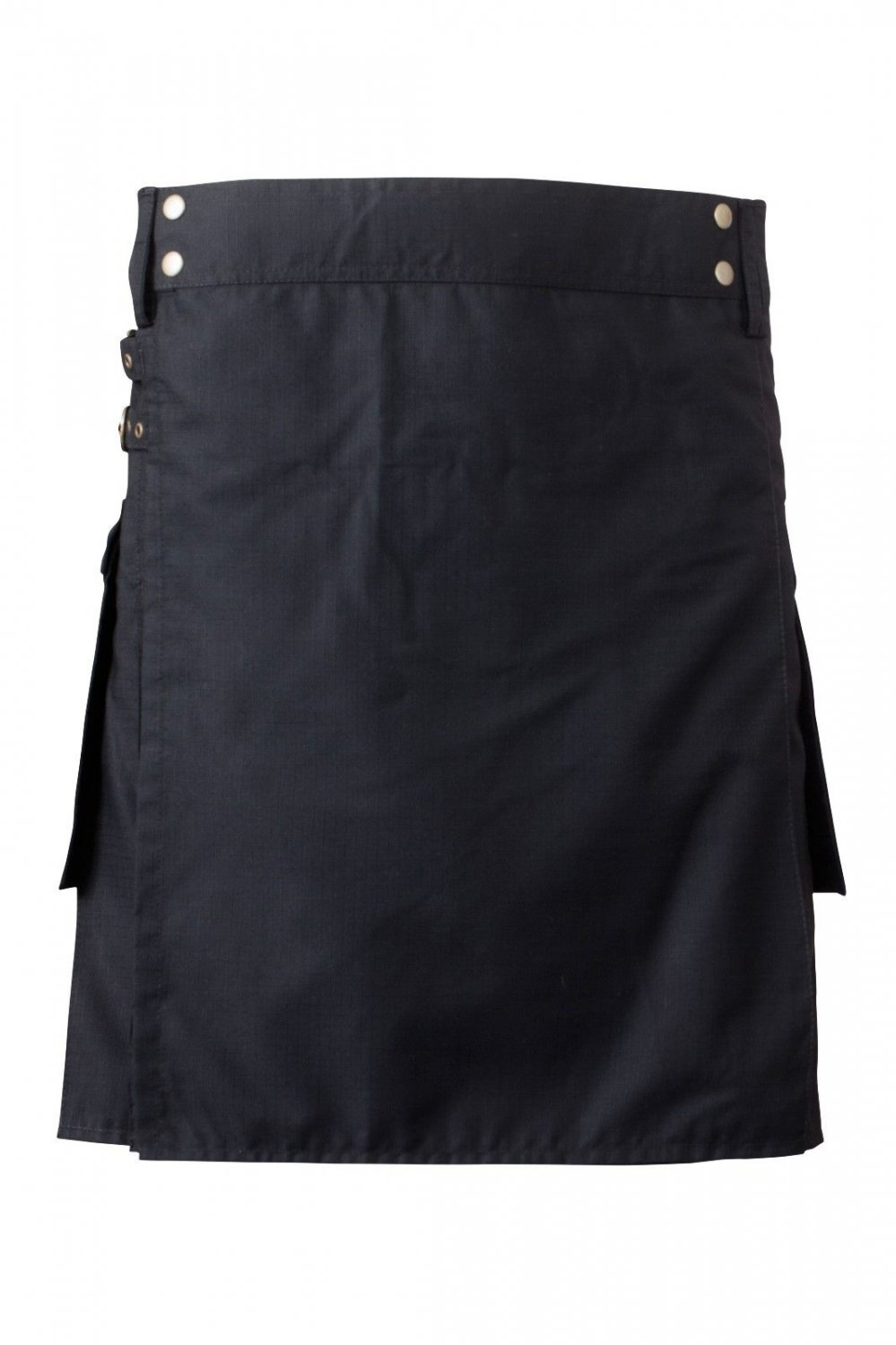 50 Waist Men's Scottish Low Price Brand New Black Cotton Utility Kilt, Fine Quality 100% Cotton