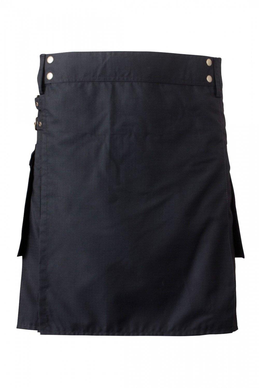 60 Waist Men's Scottish Low Price Brand New Black Cotton Utility Kilt, Fine Quality 100% Cotton