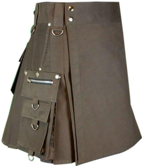 54 Waist Men's Scottish Custom made Brown Gothic kilt, Deluxe Utility Cotton Fabric Kilt