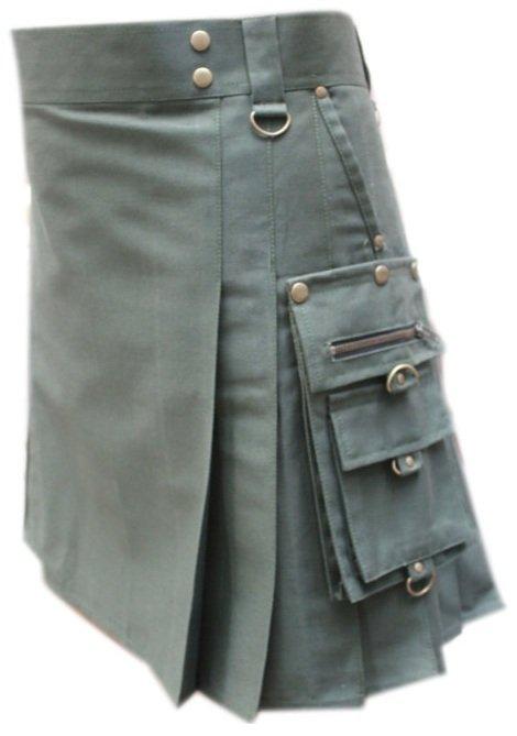 "34""  Men's Handmade Scottish Olive Green Gothic kilt, Deluxe Gothic Style Utility Cotton Fabric Kilt"