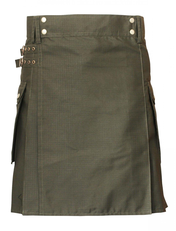 54 Size Traditional Scottish Utility Heavy Rip Stop Cotton Kilt Olive Green Cotton Deluxe Kilt