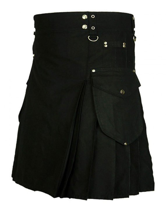 "Scottish Imperial 44"" Black Utility Kilt, Highlander Deluxe Quality Handmade Black Cotton Kilt"