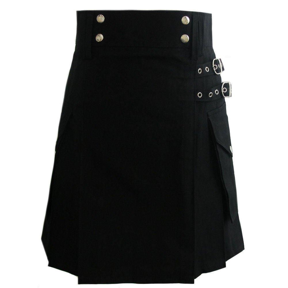 "30"" Stylish TAICHI Black Cotton Utility Kilt, Black Handmade Cotton Deluxe kilt For Active Men"