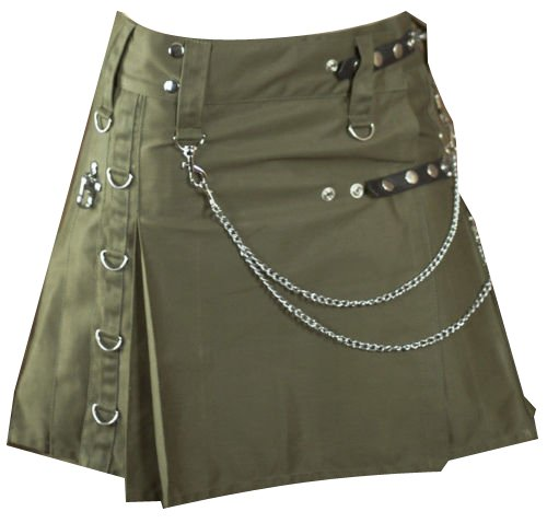 Modern Ladies Olive Green Drilled Cotton Fashion Utility Designer Pocket Kilts