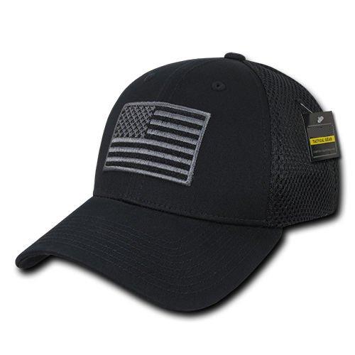 Black US American Flag Tactical Operator Mesh Flex Baseball Fit Hat Cap