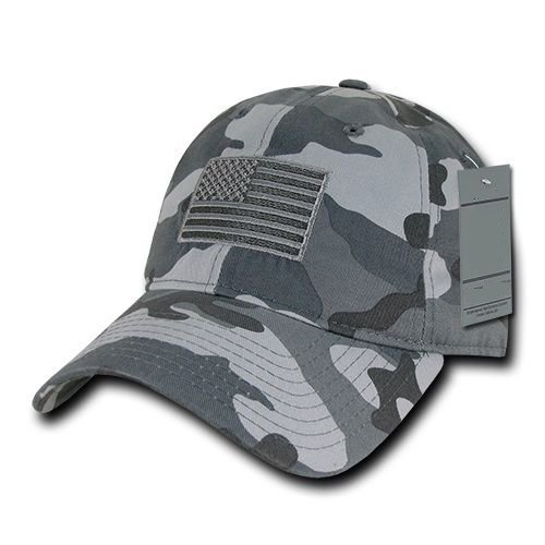 Gray Camo USA US American Flag United States America Army Polo Baseball Hat Cap
