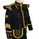 New Hand Made Black DRUMMER MILITARY PIPER Doublet Tunic JACKET Wool Blend