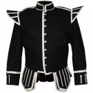 Military Piper Drummer Band Scottish Doublet Jacket Black & Silver