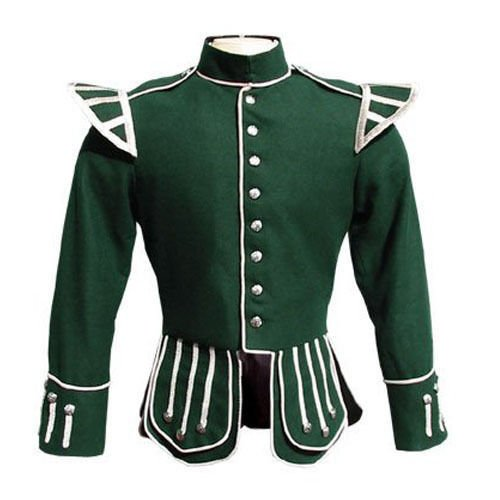 Military Piper Drummer Band Scottish Doublet Jacket Green & Silver