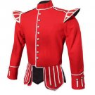 Military Piper Drummer Band Scottish Doublet Jacket Red & Silver