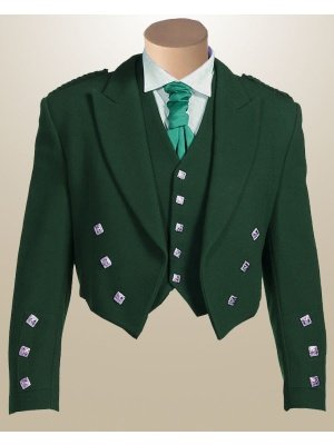 NEW GREEN COLOR Men SCOTTISH ARGYLE JACKET & VEST