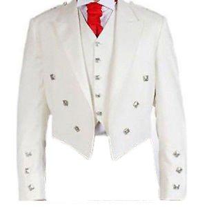 New White Color Men Scottish Argyle Jacket & Vest