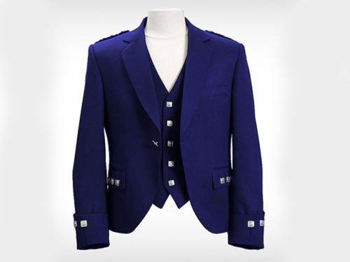 New Handmade Scottish Argyle kilt Jacket &Waistcoat/Vest Navy Blue