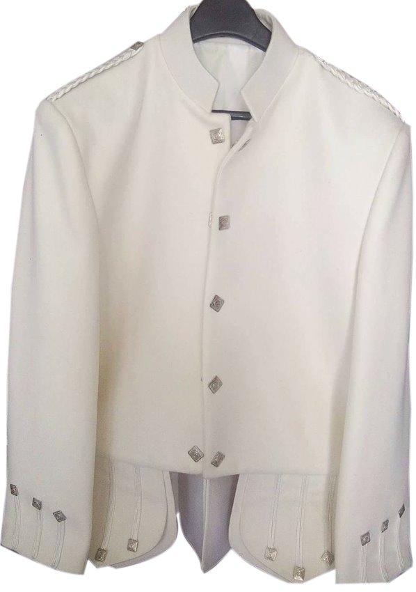 Custom Size Handmad Scottish Highlander White Wool Sheriffmuir jacket