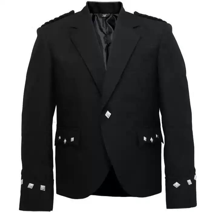 New Men�s Handmade Black Scottish Argyle kilt Jacket & Waistcoat/Vest
