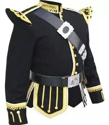 Hand Made Military Piper Drummer Band Scottish Doublet Jacket Black & Silver