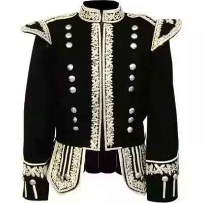 Military Piper Drummer Band Embroidered Wool Doublet Jacket Black & Silver