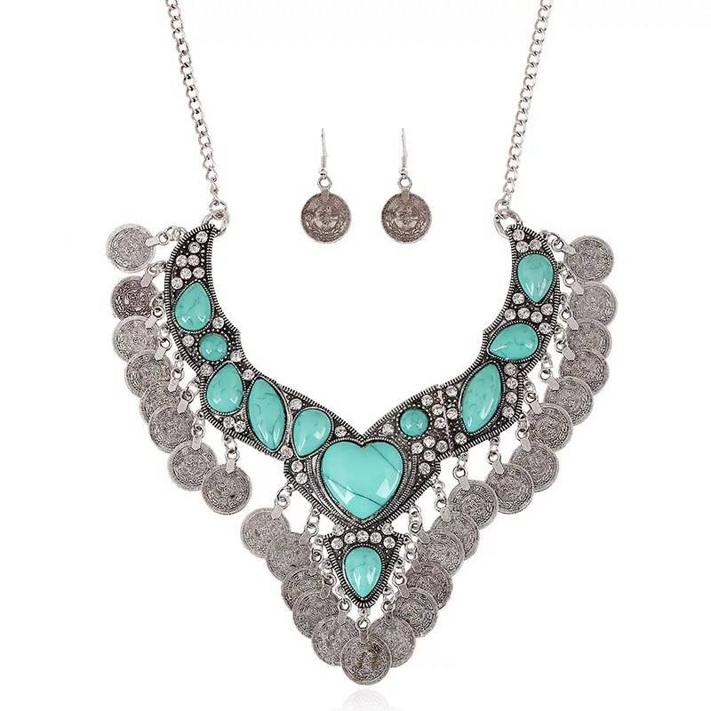 Retro fashion  jewel studded Coin Necklace tassel clavicle chain Earring +Necklace two piece set