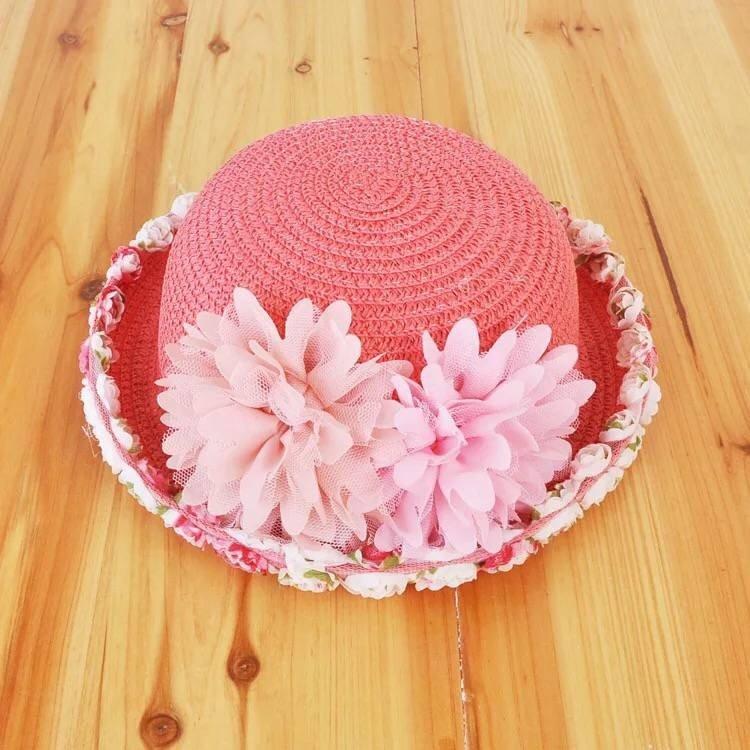 New children's straw hats, girls lace big lace, small basin hat, sun visor, straw hat, Beach Hat