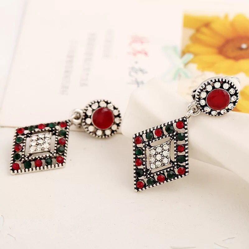 The ear clip earrings and female retro geometric non pierced earrings pierced alloy