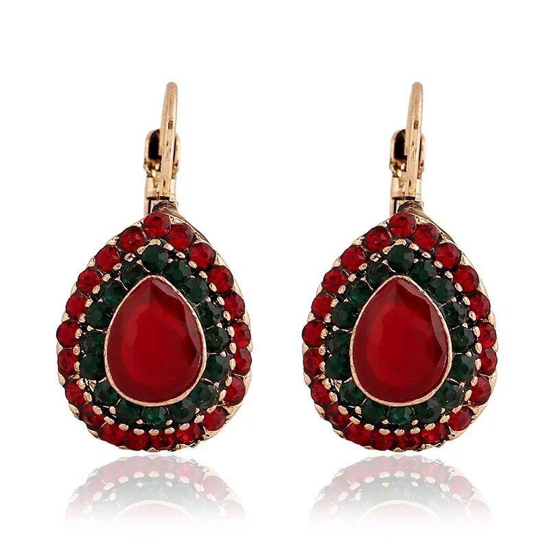 Imitated RUBY EARRINGS Europe retro Earrings Bohemia folk style earrings