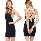 2017 summer new fashion sexy back cross sling slim dress female