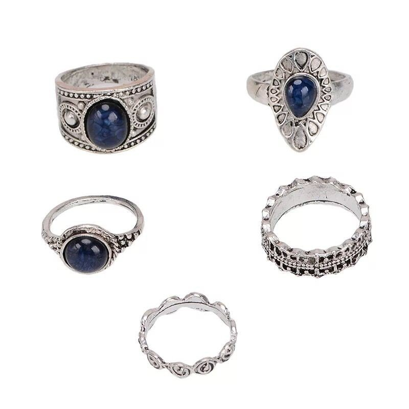 Europe and the United States new jewelry diamond ring set retro geometric alloy ring, Five piece set