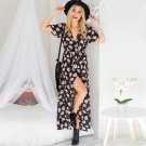 Foreign trade dress Vintage V collar short sleeved floral print dress Beach Resort slit skirt