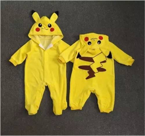 2017 spring new baby clothes embroidered Pikachu hooded conjoined infant climbing clothes