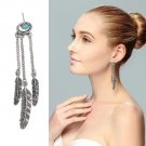 The new Bohemia Vintage Turquoise Earrings feather tassel long earrings