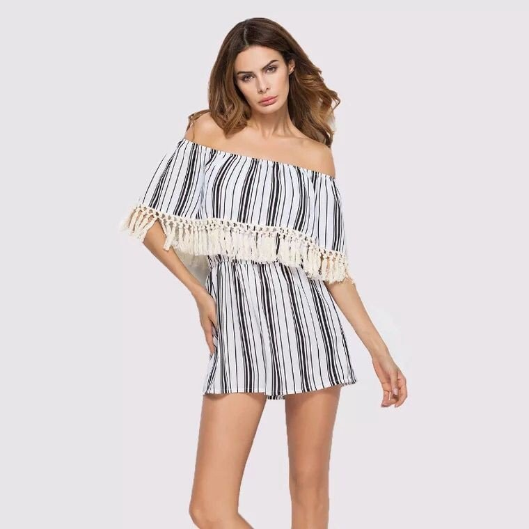New word collar fringe stripes, self-cultivation pants, elastic women One-piece pajamas